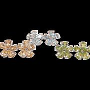 Three Pairs Of Floral Gemstone Earrings Sterling Citrine Peridot Blue Topaz