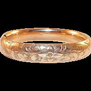 Antique Edwardian Gold-Filled Etched Bangle Bracelet
