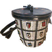 REDUCED Vintage Italian Navy Blue Leather and White Wicker Bucket Purse With Coats Of Arms