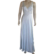 Vintage 1930's Bias Cut Light Blue Silk Nightgown Negligee With Decorative Neckline