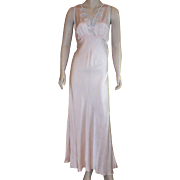 REDUCED Vintage 1920's Silk Light Peach Bias Cut Nightgown With Light Blue Applique