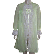 Vintage 1960's Dutchmaid Lime Green Nylon and Lace Robe