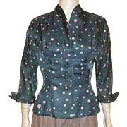Vintage 1940's Rayon Peplum Jacket With Star Pattern