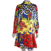 Vintage 1970's Brenner Couture Silk Bright Colored Dress Lined