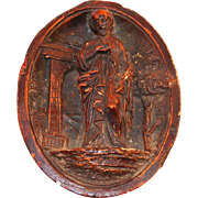 Antique French Dark Brown Carved Meerschaum Devotional Saint