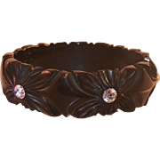 Vintage Black Bakelite Galalith Carved Bangle With Rhinestones