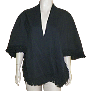 Black Cape With Wool Fringe 1960's