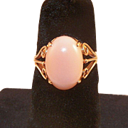 SOLD Vintage 14K Yellow Gold Angel Skin Coral Ring 7.25