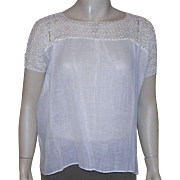 Edwardian Ecru Fine Linen Blouse With Tatting