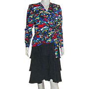 Vintage 1980's Hans Michael Mohr Silk Dress Size 42