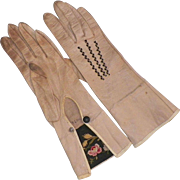 Vintage Victorian Kid Leather Gloves With Tambour Embroidered Cuffs