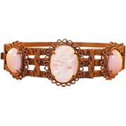 REDUCED Vintage Pink Cameo and Angel Skin Coral Hinged Bangle Bracelet