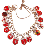 Vintage European 800 Silver Enamel Charm Bracelet