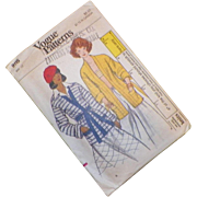 Vintage 1960's Vogue Pattern For Misses' Knit Jacket Uncut Size 12