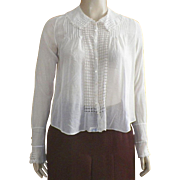 Edwardian Hand Made White Cotton Blouse / Waist