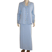 St. John Knit Light Blue Four Piece Evening Suit With Rhinestones and Sequins