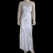 Vintage Rayon 1930's Bias Cut Floral Nightgown