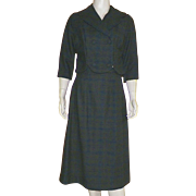 Vintage 1960's Plaid Wool Skirt and Jacket Suit Woven In Italy