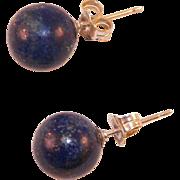 Sterling Lapis Button Earrings Pierced