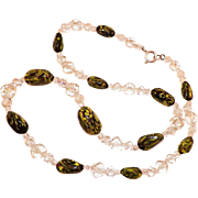 Vintage Clear Glass and Italian Glass Bead Necklace