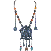 Antique Chinese Qilin Pendant Tribal Necklace With Carnelian Turquoise Coral