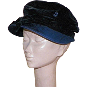 Vintage 1940's Blue and Black Velvet Hat With Sequins and Bow