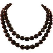 Vintage Long French Jet Faceted Bead Necklace