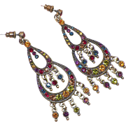 Vintage Two Tiered Chandelier Earrings With Colored Rhinestones