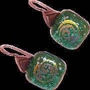 Vintage Green Dichroic Glass Pierced Earrings