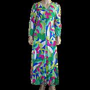 Vintage 1970's Nylon Tropical Print Lounging Dress/Robe