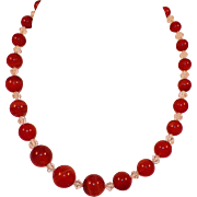 Vintage Dyed Agate and Crystal Beaded Necklace