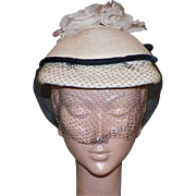 Vintage 1950's Straw Hat With White Silk Roses, Black Netting and Velvet