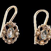 SALE PENDING Sterling Vermeil Seed Pearl Blue Topaz Drop Earrings
