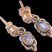 Sterling and Rainbow Moonstone Drop Earrings