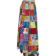 Vintage 1970's Thai Cotton Patchwork Maxi Skirt