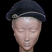 Vintage Black Merrimac Peachbloom Velour Hat With Pearl Details