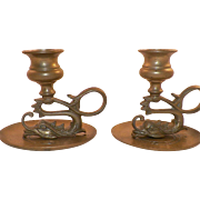 Vintage Pair Of Asian Brass Dragon Candle Holders