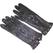 REDUCED Vintage Brown Leather Kid Gloves With Snaps & Ruffled Cuff