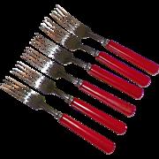 Set Of Six Red Bakelite Forks