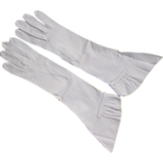 REDUCED Vintage White Kid Leather Gloves With Gathered Cuffs