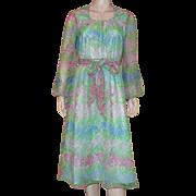 Vintage 1960's 70's Marek New York Long Sleeved Floral Print Dress