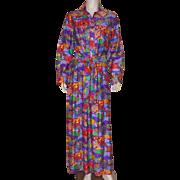 Vintage 1970's Serbin Of Florida Maxi Dress Asian Motif