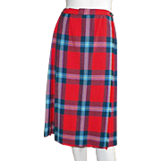Vintage 1950's British Pleated Plaid Skirt