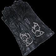 REDUCED Vintage Black Kid Leather Gloves With Cut Work Design Washable