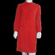 Vintage 1960's Junior Sophisticates Red Wool Drop Waist Long Sleeve Dress