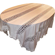 SOLD Vintage Rectangular White Drawnwork Tablecloth / Bed Cover - Red Tag Sale Item