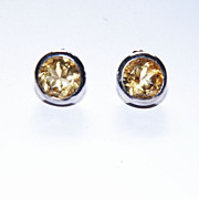 REDUCED Sterling Silver and Faceted Citrine Button Earrings Pierced