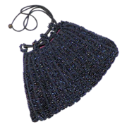 REDUCED Vintage Blue Carnival Glass Beaded Drawstring Purse