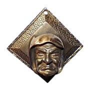 SOLD Vintage Brass Wall Hanging Match Holder Man's Face