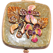 REDUCED Jay Strongwater Enamel and Rhinestone Floral Mirror Compact